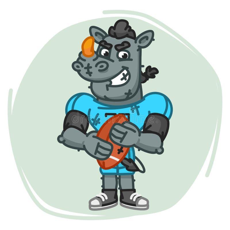 Nosorożec gracza futbolu Gniewni chwyty Balowi ilustracji