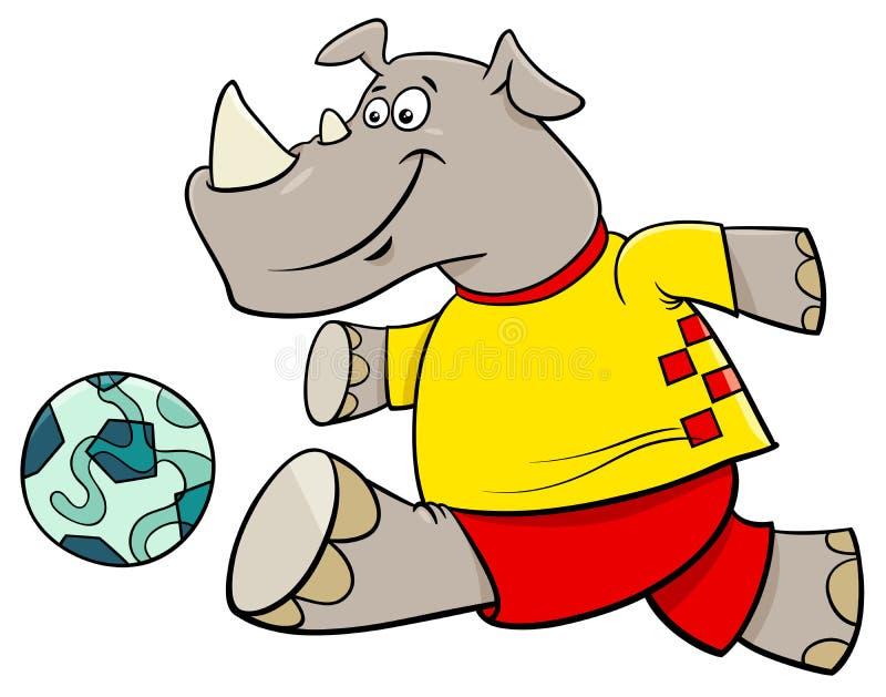 Nosorożec gracza futbolu postać z kreskówki ilustracja wektor