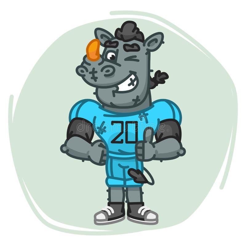 Nosorożec gracza futbolu przedstawienia Dotykają Up i mrugnięcia ilustracja wektor