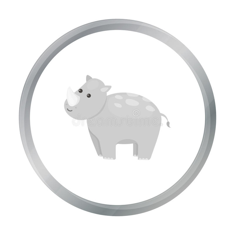 Nosorożec ikony kreskówka Upala zwierzęcą ikonę od dużej zwierzę kreskówki ilustracja wektor