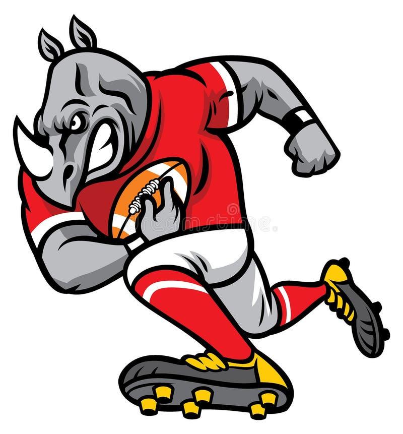 Nosorożec jako futbolu amerykańskiego gracz ilustracji