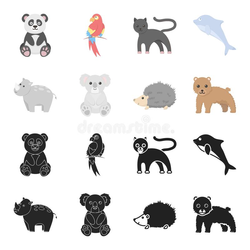 Nosorożec, koala, pantera, jeż Zwierzę ustalone inkasowe ikony w czerni, kreskówka symbolu zapasu ilustraci stylowa wektorowa sie ilustracja wektor