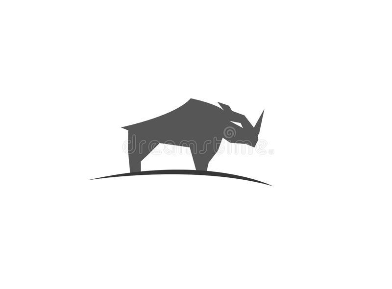 Nosorożec lub nosorożec pozycja na plateau dla logo ilustracji