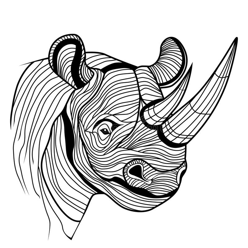 Nosorożec nosorożec zwierzęcia głowa ilustracja wektor