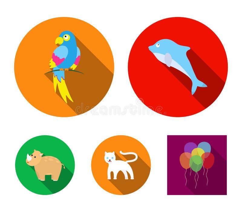 Nosorożec, popugay, pantera, delfin Zwierzę ustalone inkasowe ikony w mieszkanie stylu wektorowym symbolu zaopatrują ilustracyjną ilustracji
