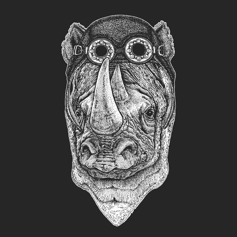 Nosorożec, nosorożec ręka rysująca ilustracja dla tatuażu, emblemat, odznaka, logo, łata, koszulka Chłodno zwierzęcy jest ubranym ilustracji