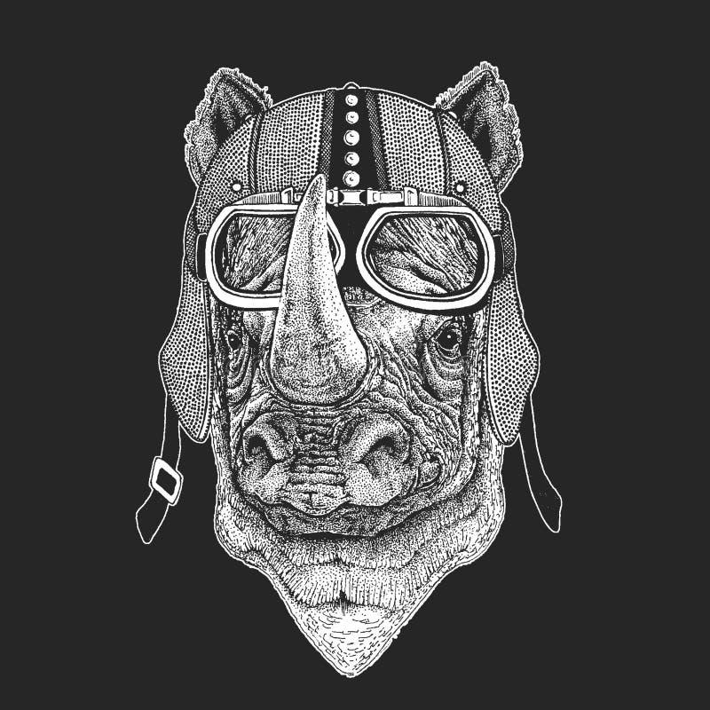 Nosorożec, nosorożec rocznika motocyklu hemlet Retro stylowa ilustracja z zwierzęcym rowerzystą dla dzieci, dzieciaki odziewa, t ilustracja wektor