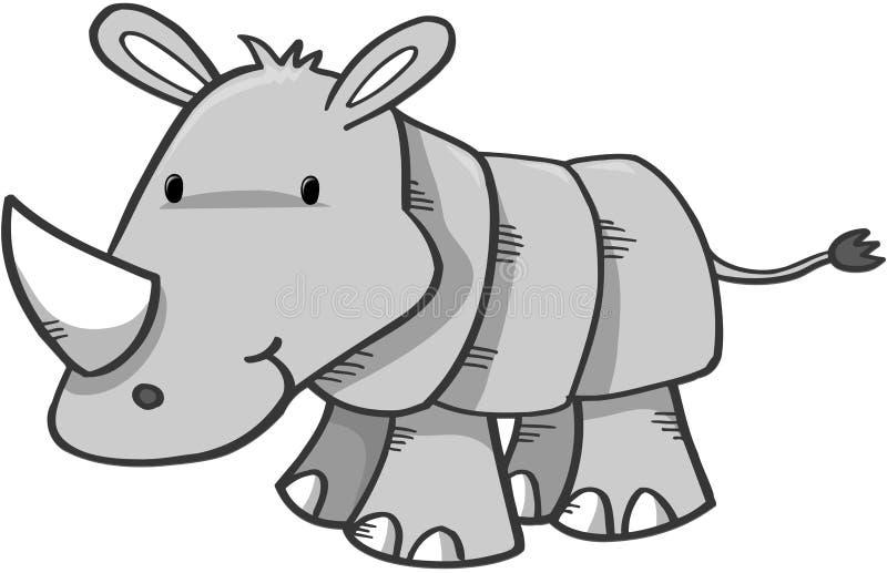 nosorożec safari słodkie royalty ilustracja