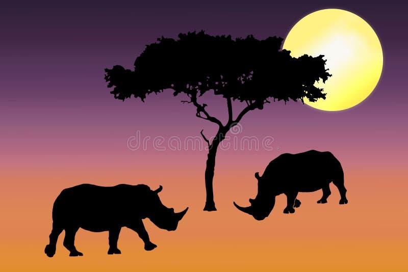nosorożec sylwetki zmierzch ilustracja wektor