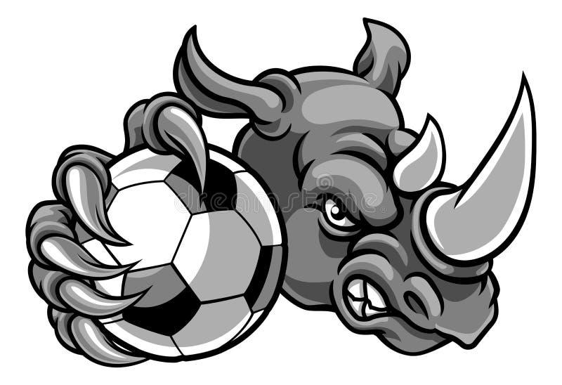 Nosorożec Trzyma piłki nożnej Futbolowej Balowej maskotki ilustracji