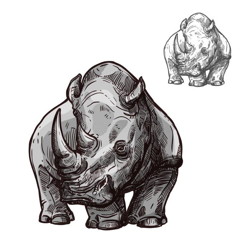 Nosorożec zwierzę odizolowywający nakreślenie afrykańska nosorożec ilustracji