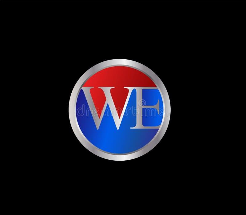 NOSOTROS forma inicial Logo Design posterior color plata azul rojo del círculo stock de ilustración