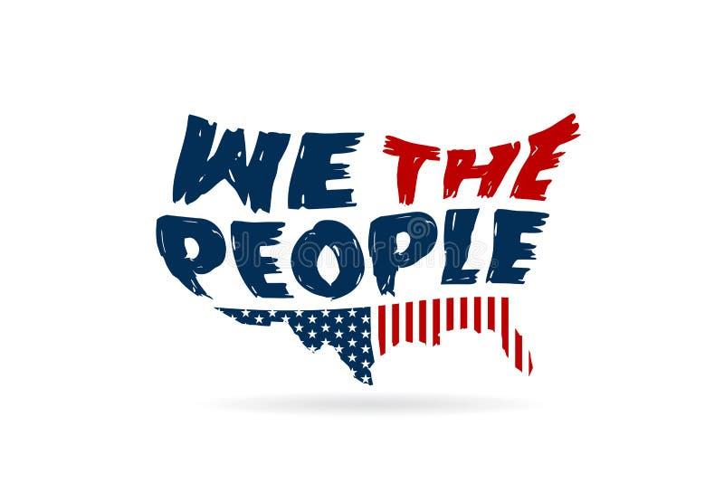 Nosotros que la palabra de la constitución de la gente en los E.E.U.U. traza ilustración del vector