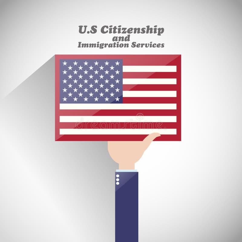 Nosotros servicios de la ciudadanía y de la inmigración stock de ilustración