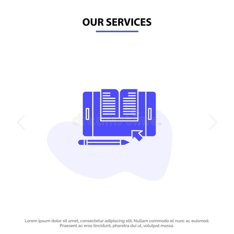 Nossa aplicação de serviços, arquivo, Smartphone, tabuleta, molde contínuo do cartão da Web do ícone do Glyph de transferência ilustração stock