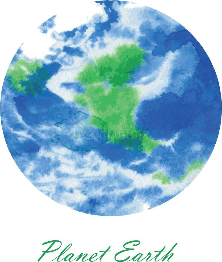 nossa aquarela pintada do planeta terra bonita ilustração do vetor