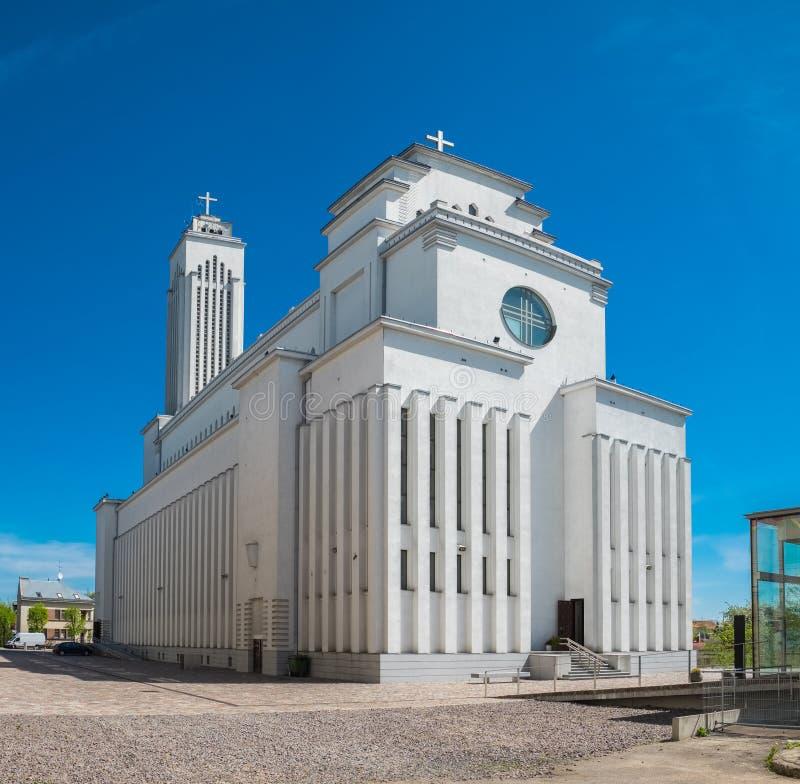 Nossa igreja de Lord Jesus Christs Resurrection em Kaunas, Lituânia fotografia de stock