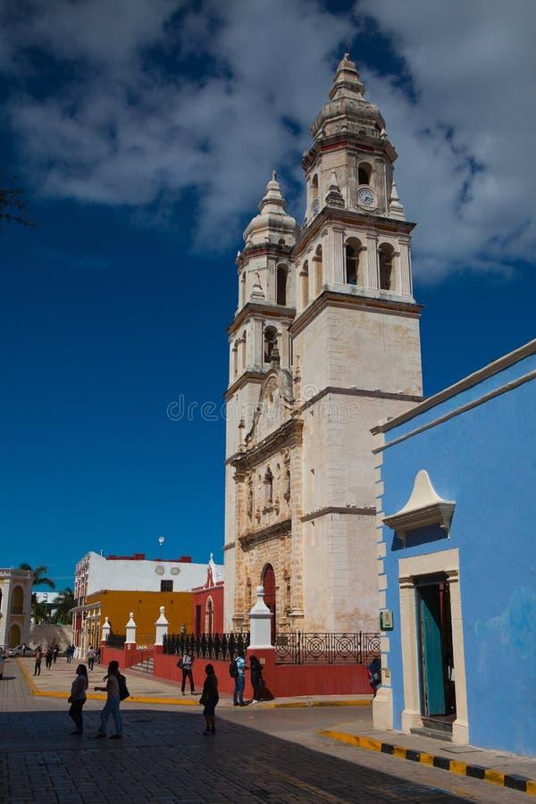 Nossa senhora da catedral da concepção imaculada em Campeche, fotografia de stock