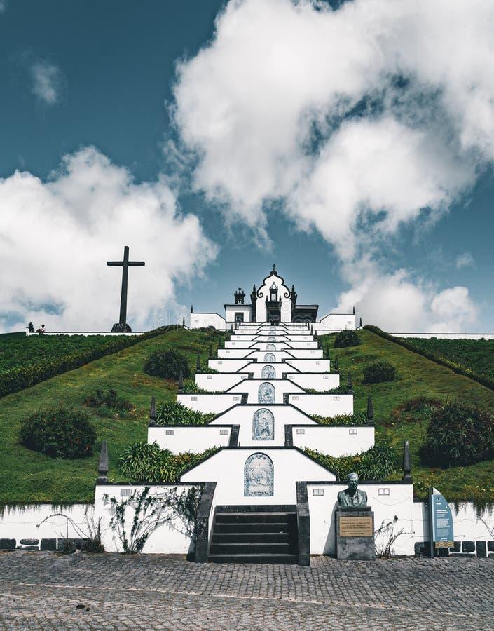 Nossa Senhora da Paz Nasz dama pokój kaplica, Vila Franca Do Campo, Sao Miguel, Portugalia obrazy royalty free