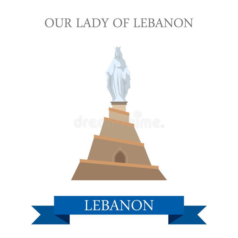 Nossa senhora do marco do curso da atração do monumento da estátua de Líbano ilustração stock
