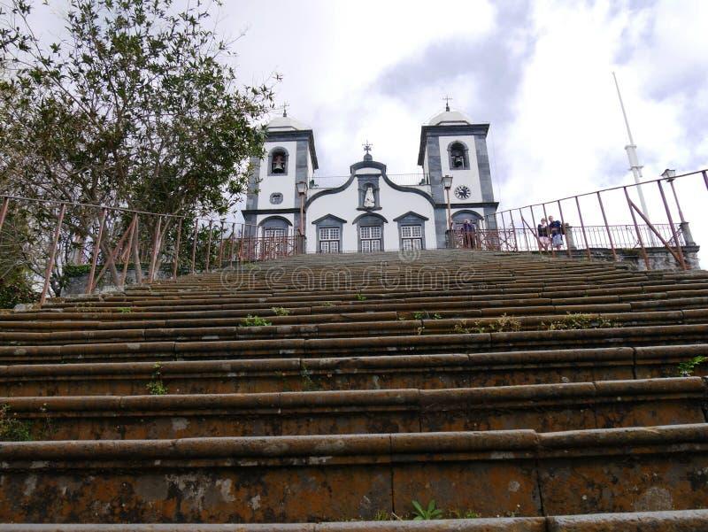 Nossa Senhora doet Monte Church in Funchal stock afbeeldingen
