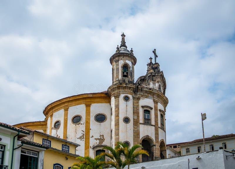 Nossa Senhora gör Rosario Church Rosary av svartar - Ouro Preto, Minas Gerais, Brasilien royaltyfri foto