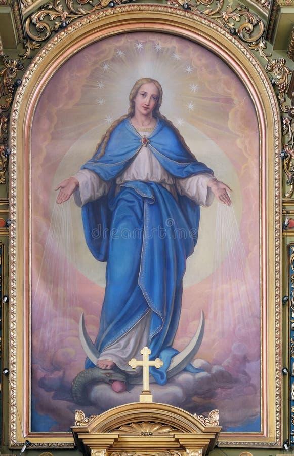 Nossa senhora, retábulo na basílica do coração sagrado de Jesus em Zagreb fotografia de stock royalty free