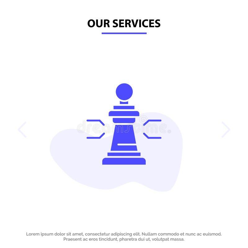 Nossa xadrez dos serviços, vantagem, negócio, figuras, jogo, estratégia, molde contínuo do cartão da Web do ícone do Glyph da tát ilustração stock