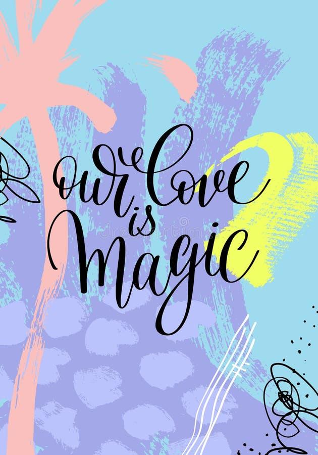Nosso amor é mão mágica escrita a rotulação no pa de pintura abstrato ilustração stock