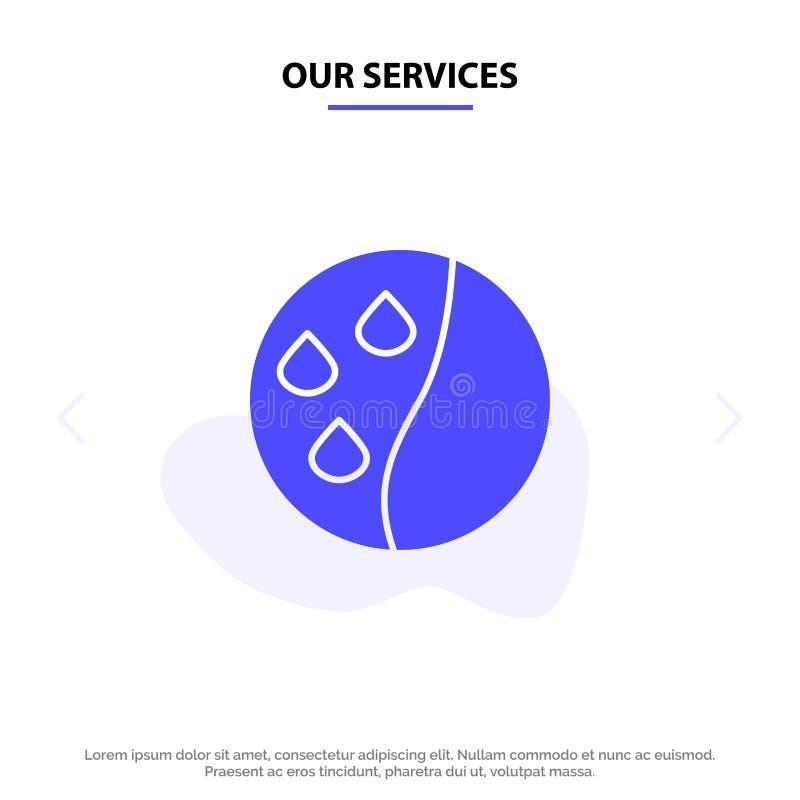 Nosso cabelo que condiciona, terapia dos serviços do cabelo, molde contínuo do cartão da Web do ícone do Glyph do tratamento do c ilustração royalty free