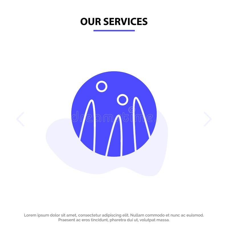 Nosso cabelo que condiciona, terapia dos serviços do cabelo, molde contínuo do cartão da Web do ícone do Glyph do tratamento do c ilustração do vetor