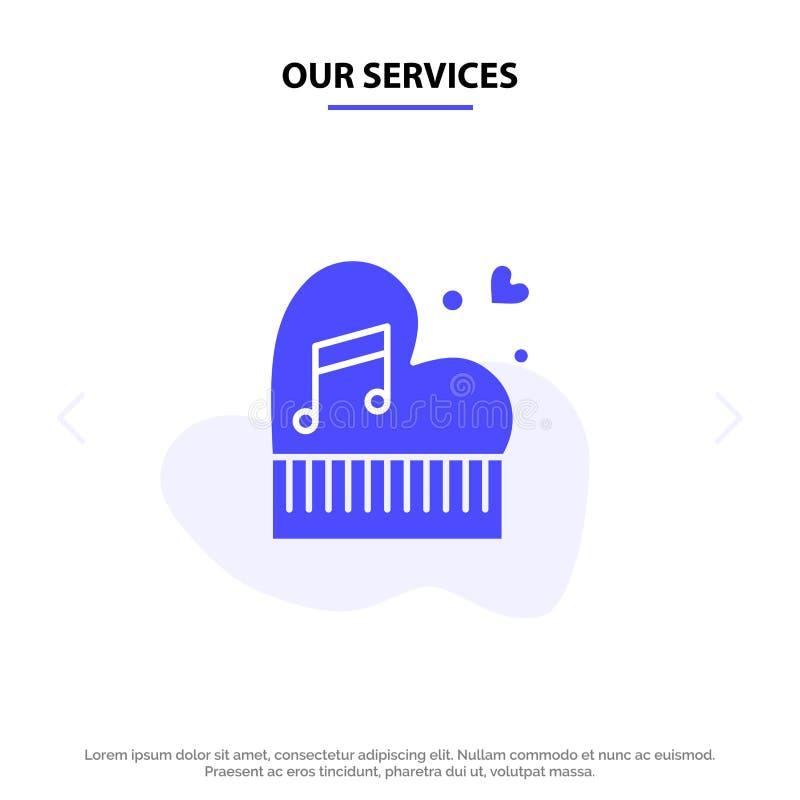 Nosso clássico dos serviços, amor, união, paixão, piano, Valentim, molde contínuo do cartão da Web do ícone do Glyph do casamento ilustração stock