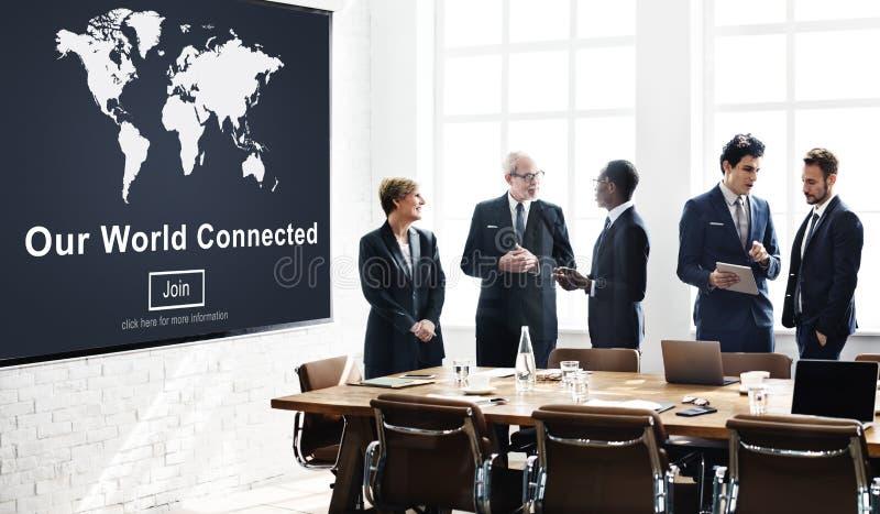 Nosso conceito social conectado mundo da interconexão dos trabalhos em rede imagens de stock royalty free
