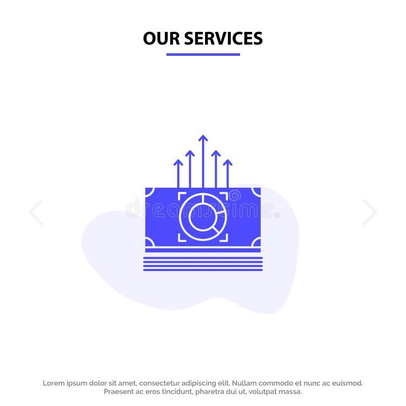 Nosso dinheiro dos serviços, pacote, fanfarrões, molde contínuo do cartão da Web do ícone do Glyph de transferência ilustração do vetor