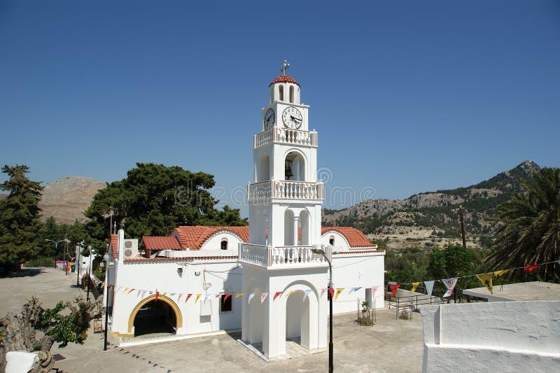 Nosso monastério da senhora Tsambika. O Rodes. Greece imagens de stock royalty free