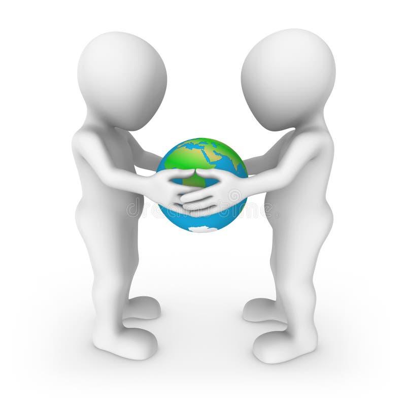 Nosso planeta em nossas mãos Conceito da ecologia povos 3d pequenos ilustração stock