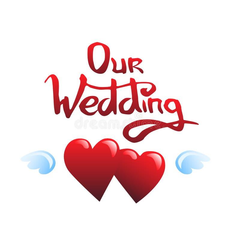 Nossos rotulação e corações do casamento ilustração stock