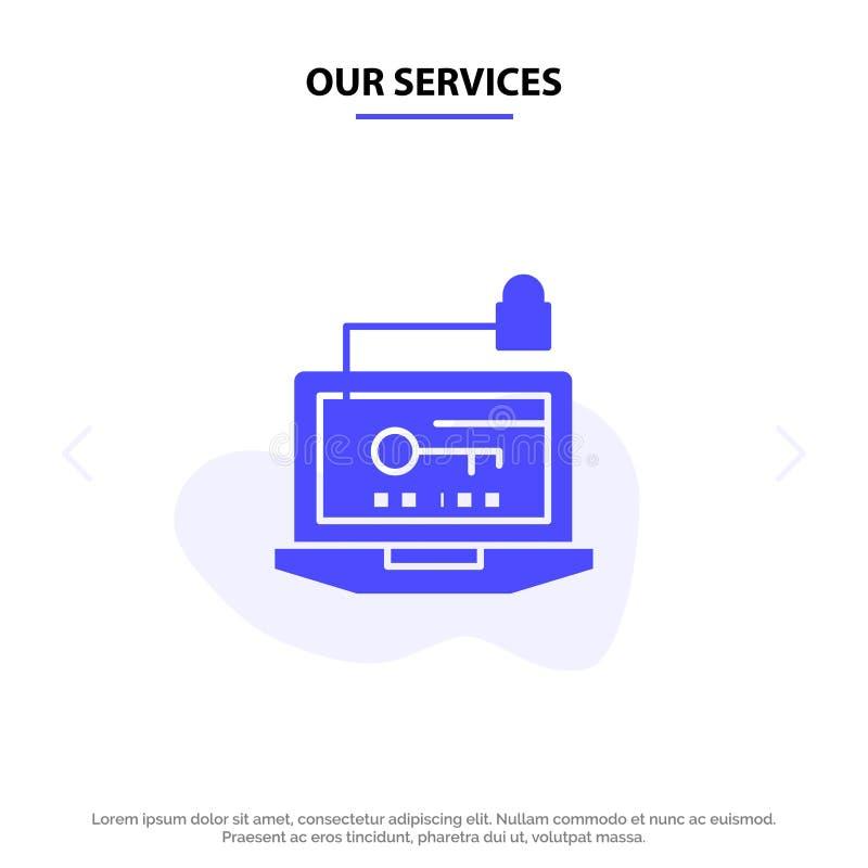 Nossos serviços alcançam, computador, hardware, chave, molde contínuo do cartão da Web do ícone do Glyph do portátil ilustração do vetor