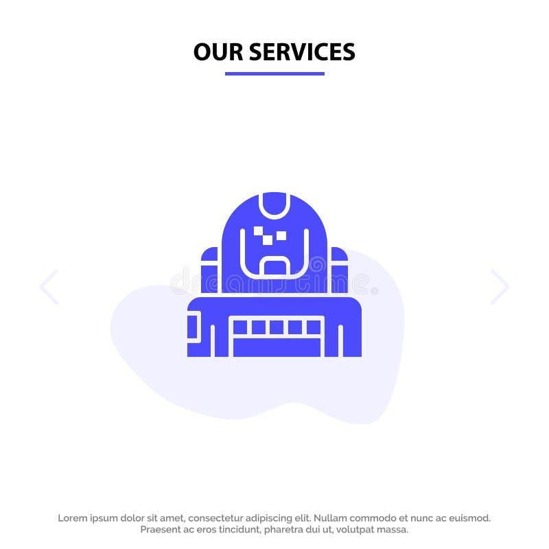 Nossos serviços astronauta, cosmonauta, explorador, capacete, molde contínuo do cartão da Web do ícone do Glyph da proteção ilustração do vetor