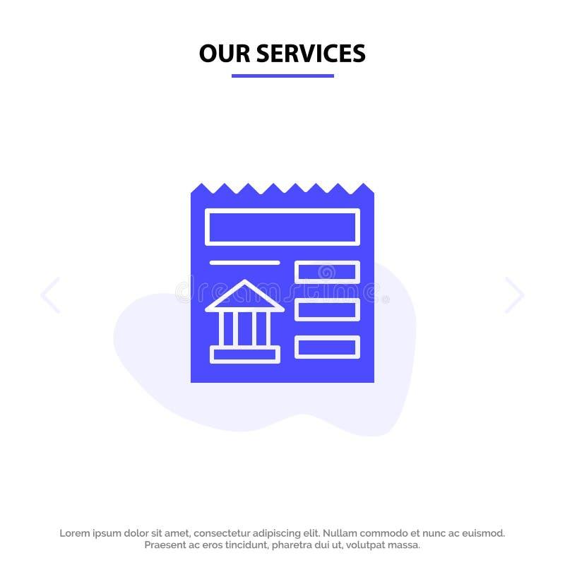 Nossos serviços básicos, documento, Ui, molde contínuo do cartão da Web do ícone do Glyph do banco ilustração royalty free