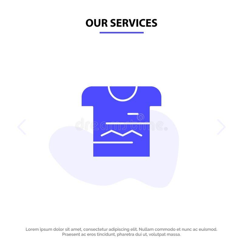 Nossos serviços camisa, Tshirt, pano, molde contínuo uniforme do cartão da Web do ícone do Glyph ilustração royalty free