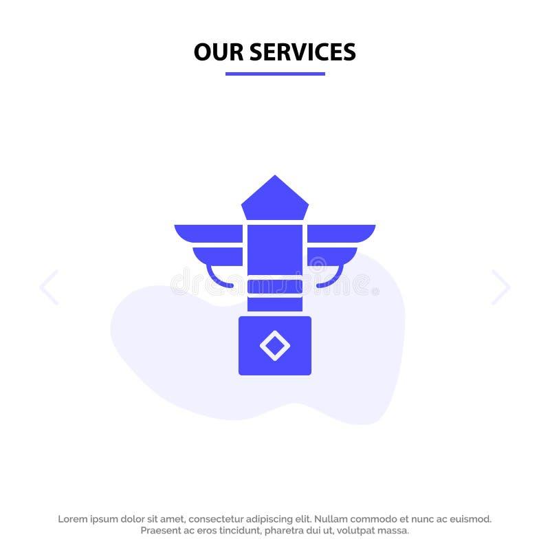 Nossos serviços rua, luz, noite, molde contínuo do cartão da Web do ícone do Glyph de Canadá ilustração royalty free