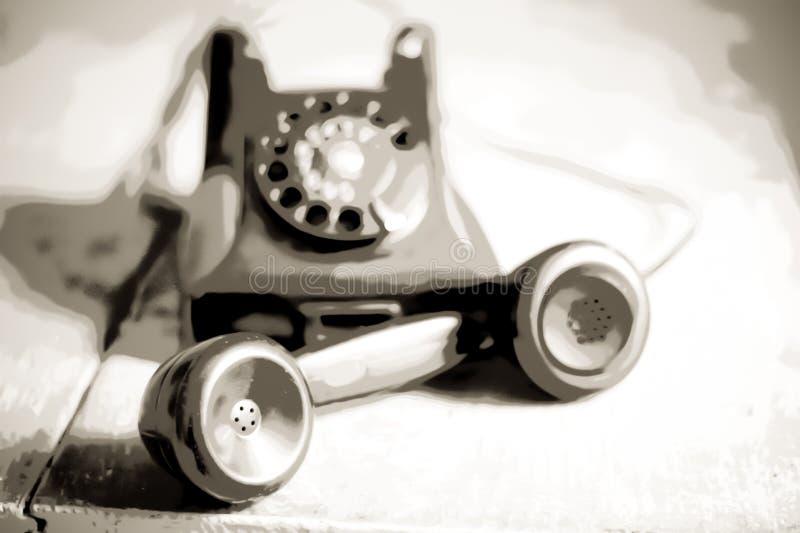 Nostalgia para el pasado en un teléfono antiguo stock de ilustración