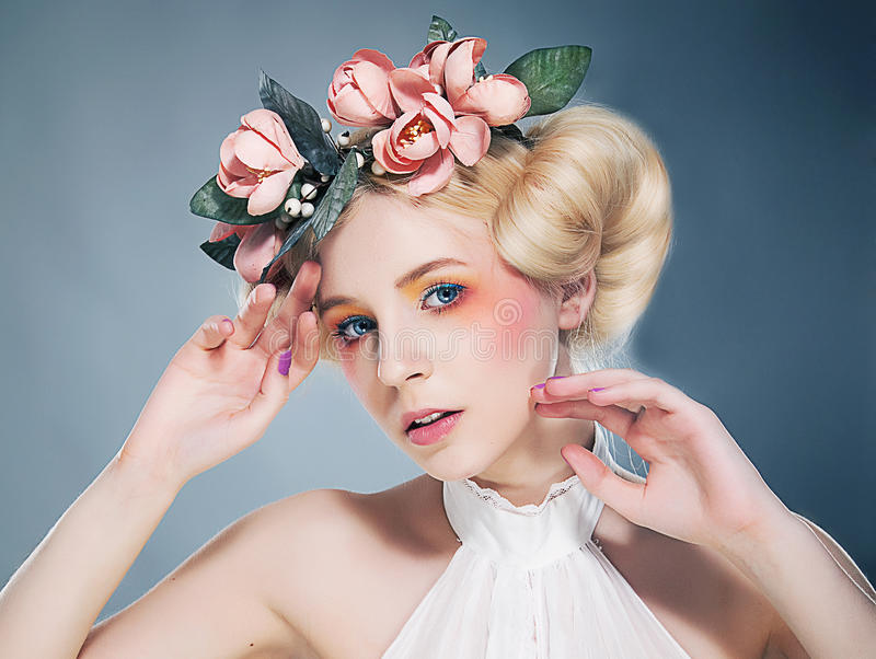 Download Nostalgia. Portrait Of Romantic Blonde With Wreath Of Flowers. Expression Stock Photo - Image: 30452340