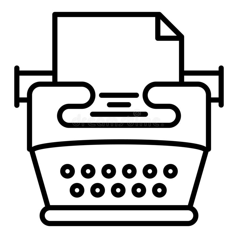Nostalgia typewriter icon, outline style vector illustration