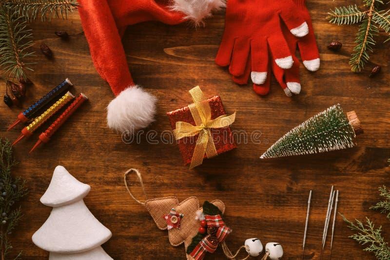 Nostalgic Christmas decoration flat lay arrangement royalty free stock photography