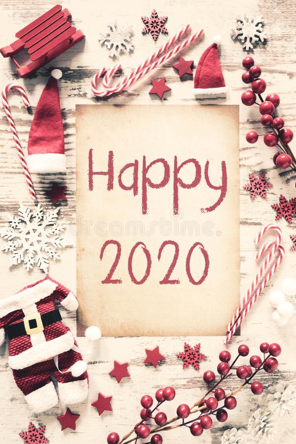 Nostalgic Christmas Flat Lay, Vertical Paper, Text Happy 2020 stock image