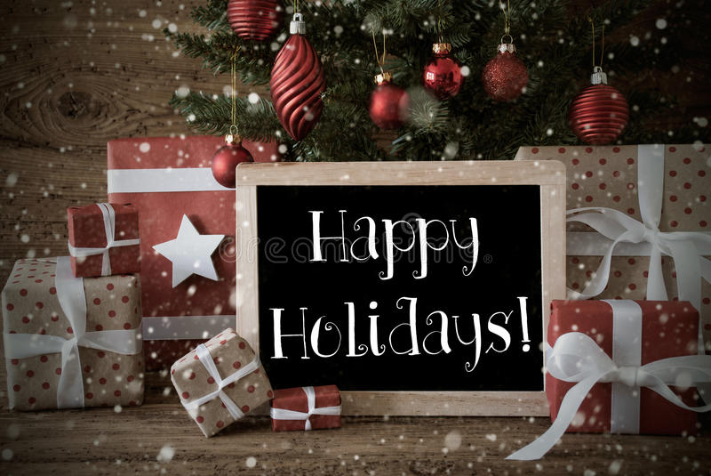 Nostalgic Christmas Tree With Happy Birthday, Snowflakes stock photos
