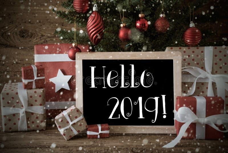Nostalgic Christmas Tree With Hello 2019, Snowflakes, Gifts stock photo