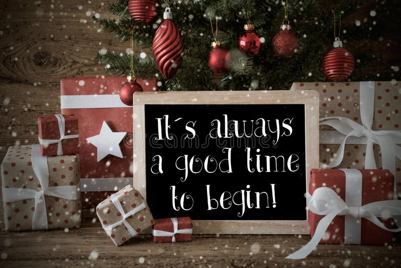 Nostalgic christmas tree quote always time begin snowflakes stock nostalgic card for seasons greetings christmas tree with balls and snowflakes gifts or presents in front of wooden background m4hsunfo